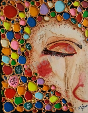 Coffee Color - Colombian Coffee Mixed Media on Canvas 24'' x 16''