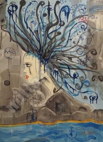 La Donna nel Mondo - Mixed Media on Canvas 30'' x 40''