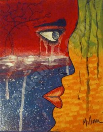 Overflowing woman - Mixed Media on Canvas 24'' x 16''
