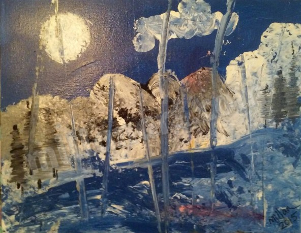 Winter in Verano - Acrylic on Canvas 9'' x 18''